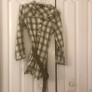 Plaid Button Down with Belt